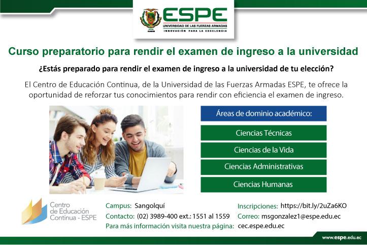 Curso preparatorio examen ingreso a universidad