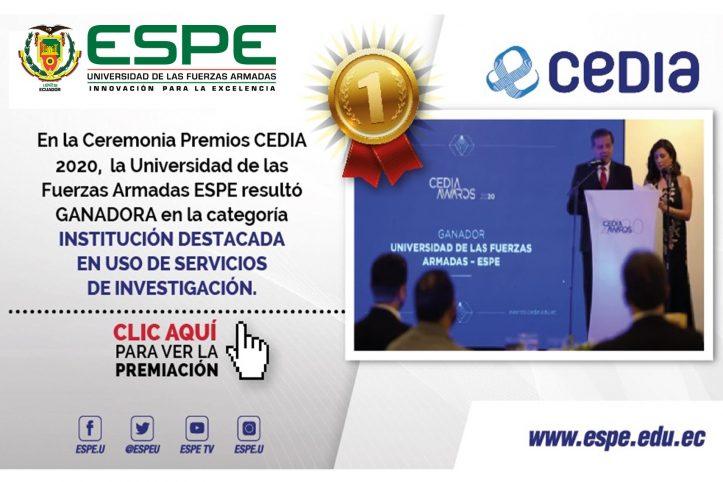 ESPE gana en Ceremonia CEDIA AWARDS 2020