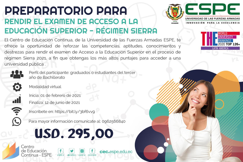 Curso: Acceso a la educación superior régimen sierra 2021