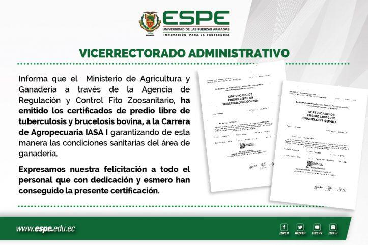 Certificados a Carrera Agropecuaria IASA I, ESPE