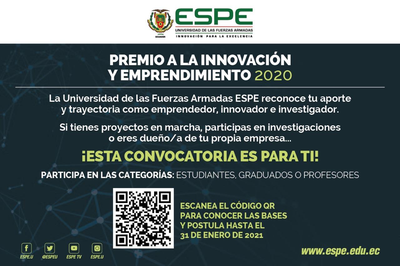 Convocatoria Premio a la innovación y emprendimiento, ESPE