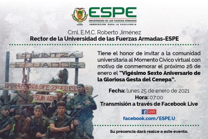 Invitación Momento cívico virtual, ESPE