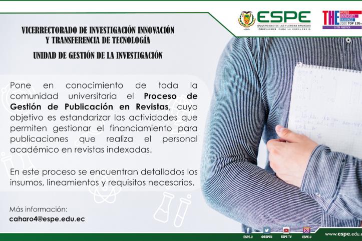 Proceso de gestión publicación en revistas, ESPE