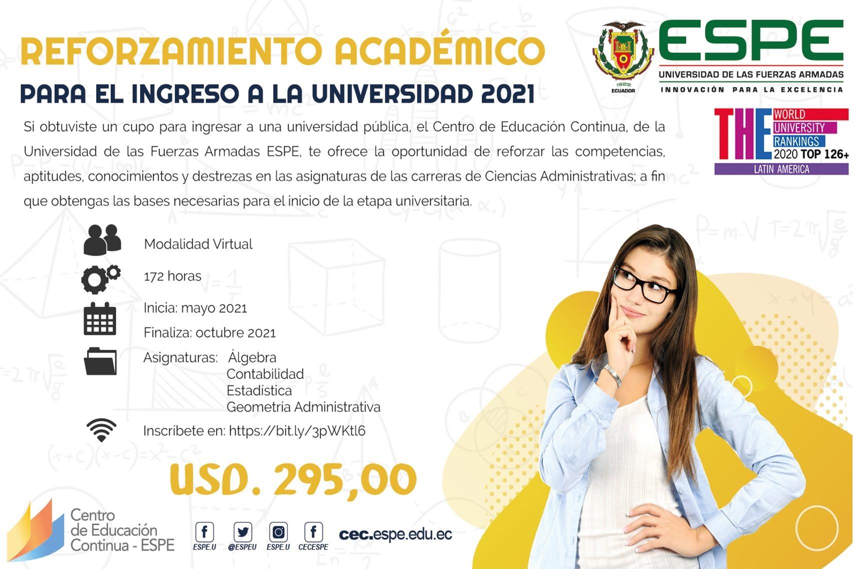"""Curso: """"Reforzamiento Académico para el Ingreso a la Universidad 2021 - Ciencias Administrativas"""","""